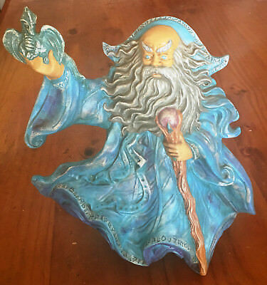 Wizard Statue Blue Holding Dragon & Wand With Crystal Mystical Enchanting Magic
