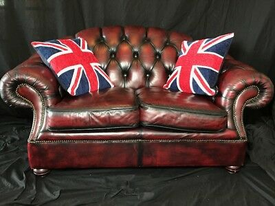 1 Handmade Luxury Soft Leather Chesterfield Style 2 Seater Sofa Oxblood Red