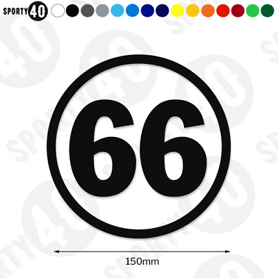 150mm Round Race Number - Vinyl Stickers / Decal - Classic Bike Car Scooter