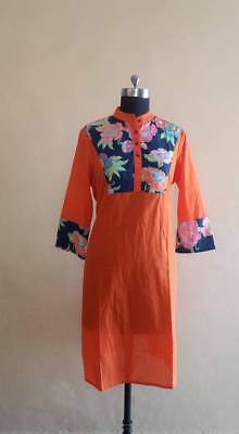 Women's Ethnic Top Tunic New Stylish Indian solid orang kurti with print yoke