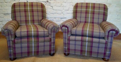 Pair of Antique Fireside Armchairs upholstered in Balmoral Tartan Fabric