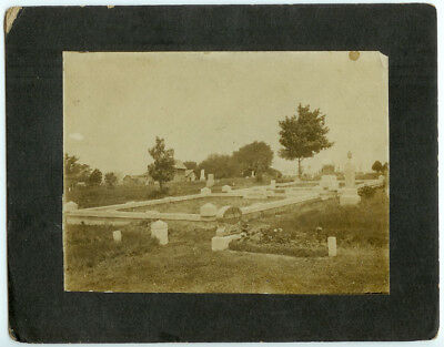RARE POST MORTEM FUNERAL BURIAL DEATH : Cemetery with Headstones Mourning Photo