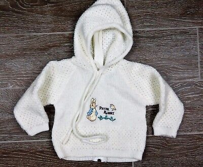 Vintage Quiltex Littleknits Baby Boy Girl Peter Rabbit Hooded Sweater 6-9 mos