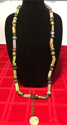 Antique Venetion Millefiori African Trade Beads with Amber center