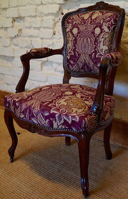 An Antique French Louis XV Fauteuil Armchair in Morris & Co. Fabric