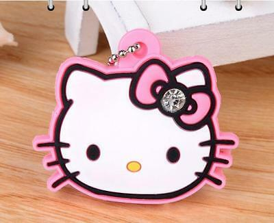 1x Hello Kitty Pink Soft Rubber Crystal Key Cap Cover Key Chain