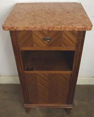 Superb Continental Marble-Topped Bedside Cabinet Birch With Walnut Veneers