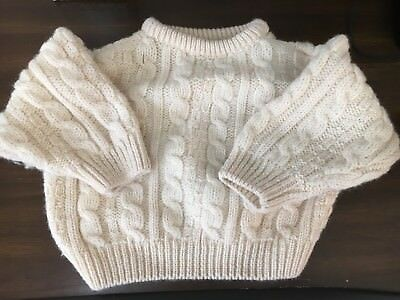 CLADURNIC IRISH IRELAND Fisherman Cable Knit Baby Sweater 2-4 Years