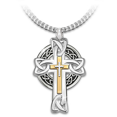Men Jewelry Necklace Celtic Knot Irish Cross Solid Stainless Steel Chain Faith