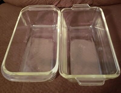 Pyrex Loaf Bread Pan Clear Glass  two