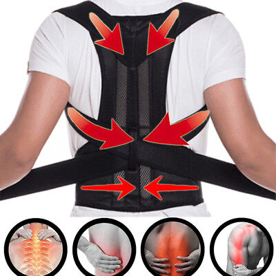 Magnetic Therapy Posture Corrector Body Back Pain Belt Brace Shoulder Support HG