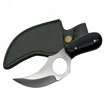 "NEW 6"" Buffalo Horn Handle Full Tang Hunting Skinner Knife with Leather Sheath"