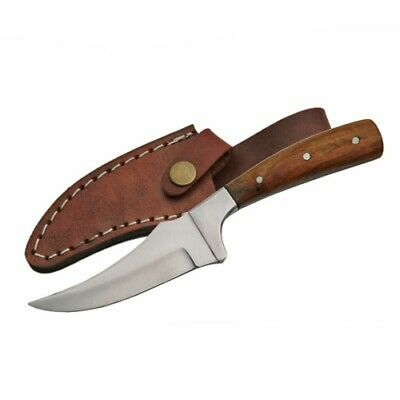 FIXED-BLADE HUNTING KNIFE - Silver Blade Brown Wood Handle Sharp Finger Skinner