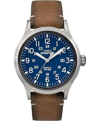 Mens Timex Indiglo Expedition Brown Leather Band Blue Dial Date Watch TW4B01800
