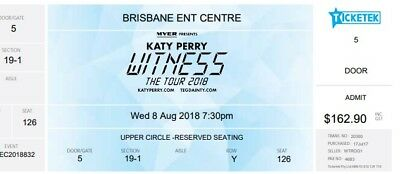 Katy Perry Brisbane Concert 3 tickets Wednesday 8th August