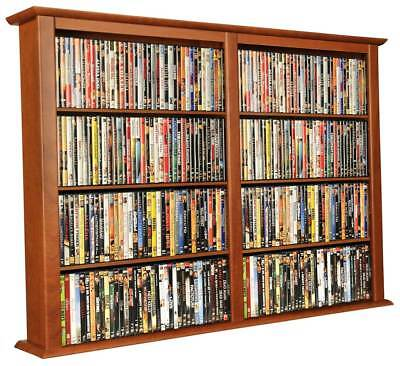 Double Wide Wall Media Cabinet in Cherry Finish [ID 26439]