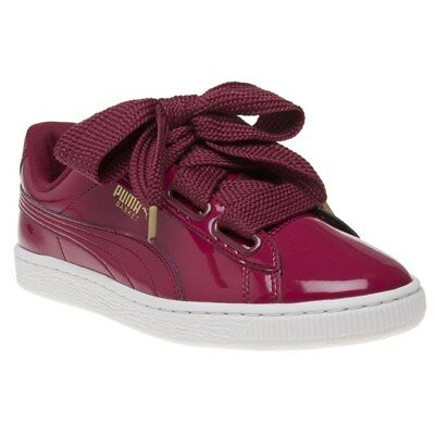 b773d69ddef PUMA WOMENS COPPER Pink Trainers Basket Heart Patent Leather Ladies ...