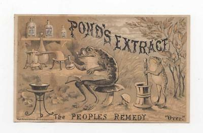 Pond's Extract Remedy Trade CArd, Frogs in Laboratory, c1890