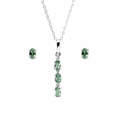 Anderson & Webb Green Sapphire and Diamond Pendant and Earrings Set