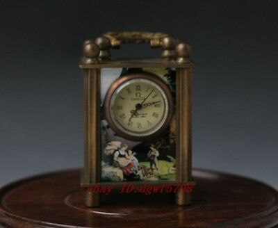 Collectible Old Chinese Belle Handwork Mechanical Table Clock NN