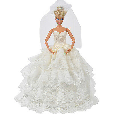 Handmade White Princess Wedding Dress Gown With Veil For 29cm Barbie Doll..