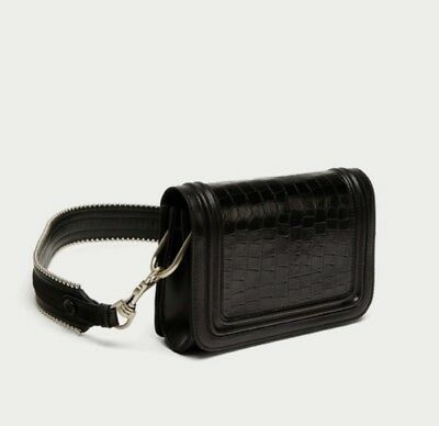 9530a9bf ZARA STUDIO COLLECTION Black Embossed Real Leather Messenger Crossbody Bag