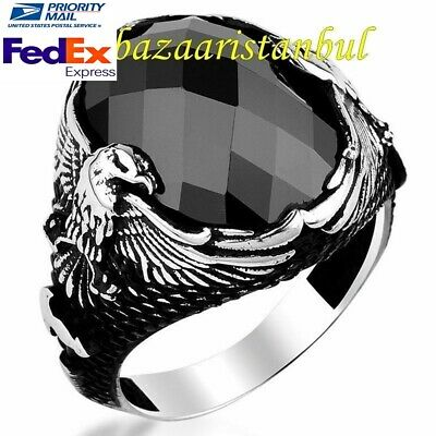 Turkish 925 Sterling Silver Eagle Black Onyx Stone Mens man ring us ALL SİZE