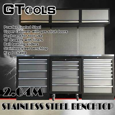 Grey Coated Steel Garage/Workshop Workbench and Upper Cabinet Set (14 Pieces)
