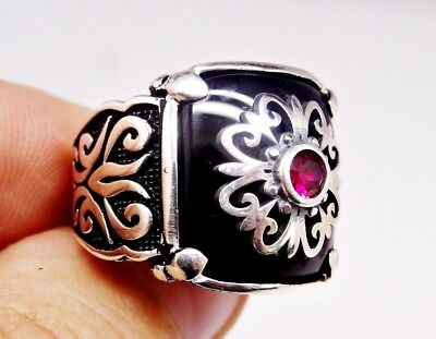 925 Sterling Silver Turkish Handmade SPECIAL Onyx Mens Ring Sz 9 us free resize