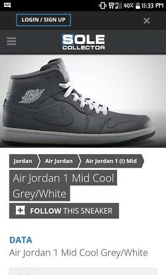 uk availability 40658 fe818 Air Jordan 1 Mid Men s Basketball Shoes Cool Grey White-Grey 554724-014