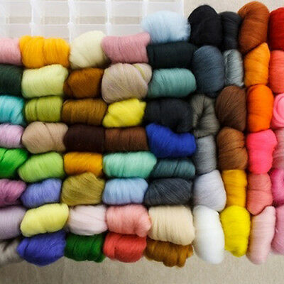 AU_ 36Colors/Set Mixed Colors Wool Fibre Roving for Needle Felting DIY Craft Gre