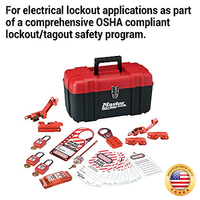 Master Lock Lockout Tagout Kit, Electrical Lockout Kit with Thermoplastic Safet