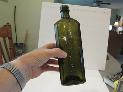 Vintage Yellow Olive Green Udolpho Wolfe's Schiedam Aromatic Schnapps Bottle