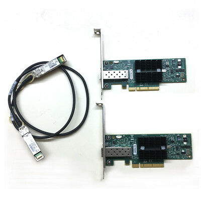LOT OF 2 MNPA19-XTR 10GB Mellanox ConnectX-2 10Gbe 3m SFP+ Cable Network Card