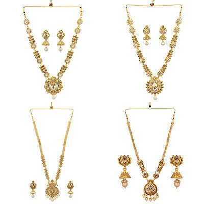 f4926a64ba481 JWELLMART INDIAN TRADITIONAL Gold Tone Women Ethnic Rani Haar Style  Necklace Set