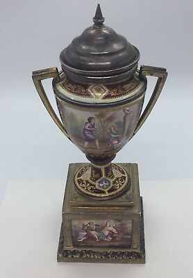 Vienna Austrian Antique Sterling Silver & Enamel Scenic Covered Urn