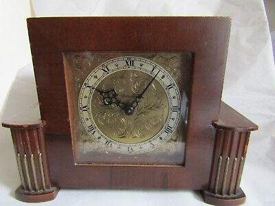 VINTAGE Rotherham MANTEL Clock 8 Day mechanical movement Antique