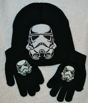 3c86238aec478 Star Wars Youth Storm trooper Knit Beanie Hat   and gloves Black White One  Size