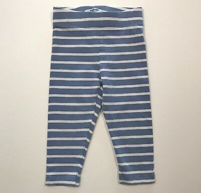 MINI BABY BODEN Blue/White Striped Leggings Size 12-18 Months