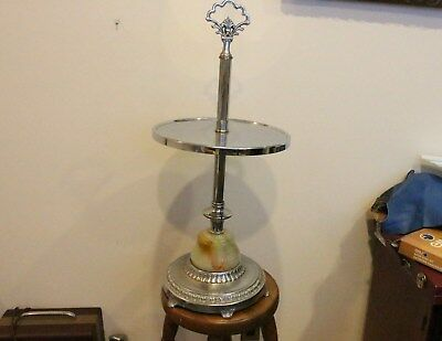 VINTAGE ART DECO CHROME SLAG GLASS FLOOR ASHTRAY STAND End Table Easy Chair Side