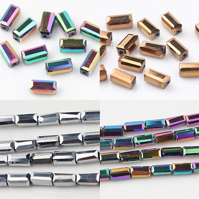 Creative 40/80Pcs Faceted Crystal Rectangle Square Charm Loose Spacer Bead 7x3mm