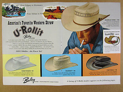 1959 Bailey U-Rollit Western Straw Hats 4 Styles color art vintage print Ad
