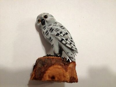 Miniature Wooden Carved Snowy Owl
