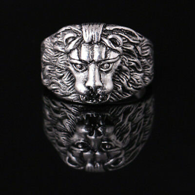 Men Cool Lion Gothic Biker Cool Ring Retro Silver Goth Lion Head Rings Jewellery