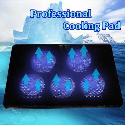 5 Fans LED USB Port Cooling Stand Pad Cooler For Notebook 12''-17'' Laptop New
