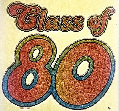 Vintage 80s Psychedelic Class of 80 Glitter Iron On Transfer by Quaker RARE!