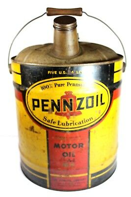 Vintage Pennzoil 5 Gallon Can with Wooden Handle