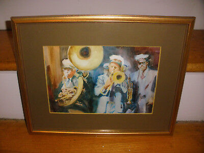 original New Orleans artist Ann deLorge watercolor painting Jazz brass band