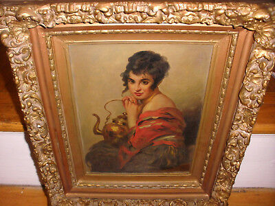 Antique 19Th Continental School Beauty Woman With Teapot Portrait Painting Sign