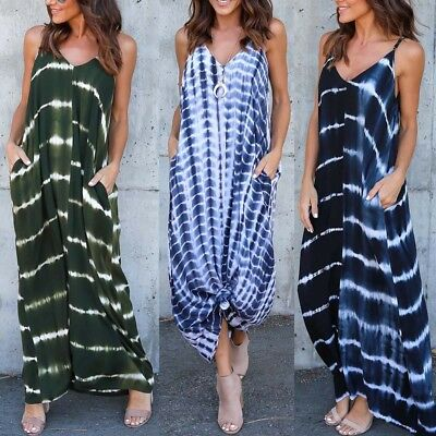ZANZEA Women Stripe Wave Long Maxi Dress Deep V Low Cut Summer Beach Dress Plus